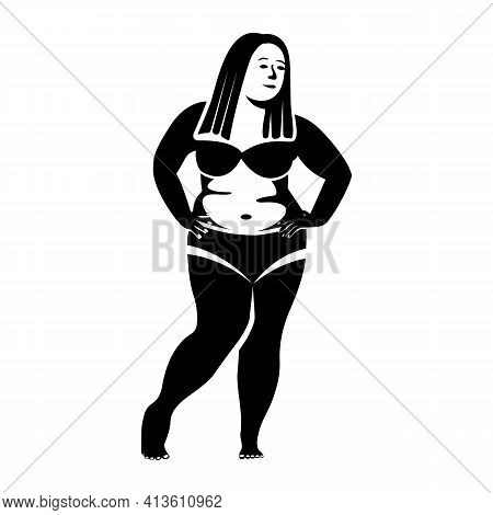 Black Silhouette Fat Woman In A Swimsuit. Obese Beautiful Young Person. Big Belly, Thick Legs, Big B