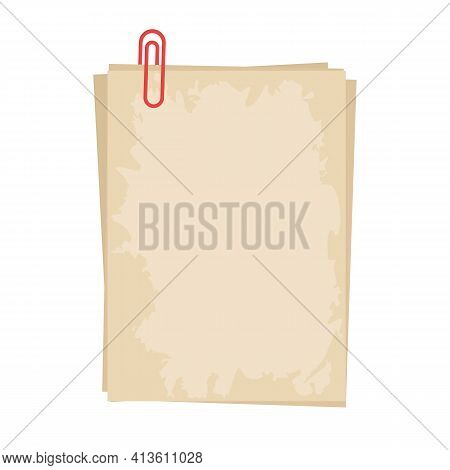 Old Sheets Fastened With A Clip. Blank Vintage Sheet. Template For Your Text. A Place To Promote Adv