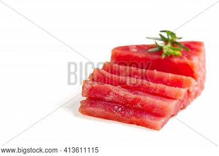 Fresh Yellowfin Sliced Tuna Steak Isolated On A White Background. Bluefin Tuna Medallions