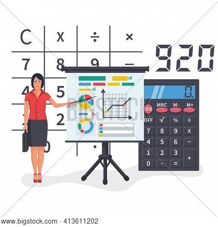 Businesswoman Makes Financial Report, Concept. Research Data Analysis. Audit, Market Stats Calculati