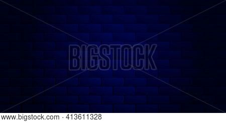 Dark Blue Brick Wall Background For Neon Lights. Place For Your Text. Texture Of Bricks. Vector Illu