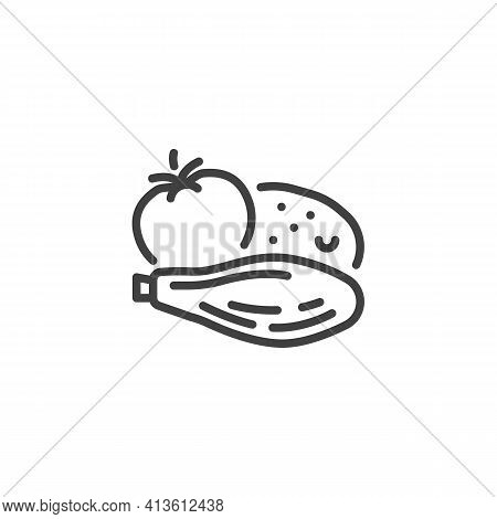Bbq Vegetable Line Icon. Linear Style Sign For Mobile Concept And Web Design. Grill Vegetable, Tomat