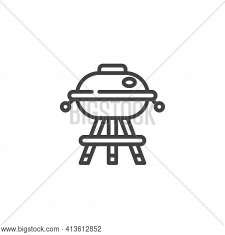 Barbeque Grill Line Icon. Linear Style Sign For Mobile Concept And Web Design. Bbq Grill Outline Vec