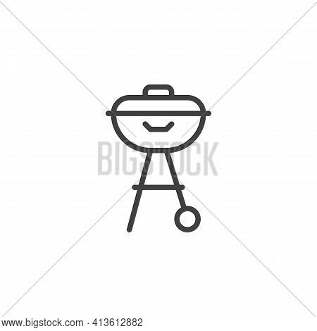 Bbq Grill Line Icon. Linear Style Sign For Mobile Concept And Web Design. Barbeque Grill Outline Vec