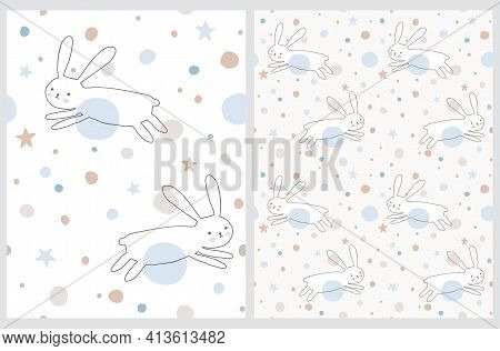 Cute Eater Seamless Vector Patterns With White Bunny. Sweet Rabbits Running Among Pastel Blue And Be