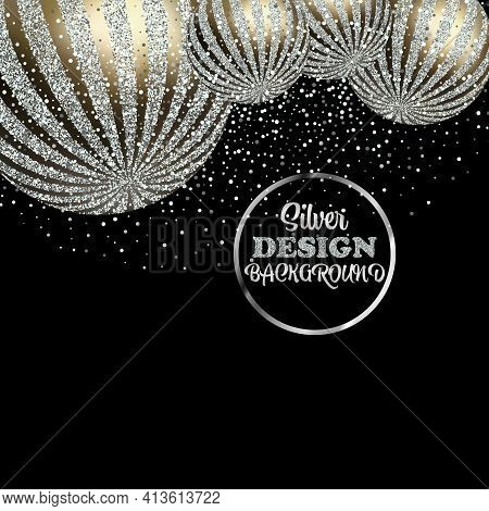 Abstract Silver Festive Banner Design Background With Decorative Balls, Silver Glitter, Silver Dust