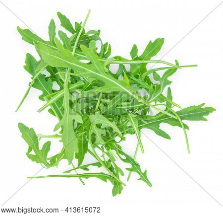 Rucola Bunch Isolated On White Background. Rocket Salad Or Arugula Heap, Top View