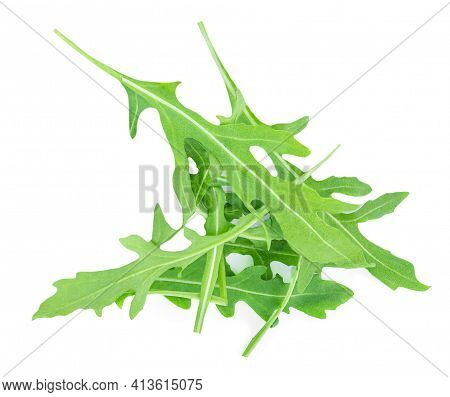 Rucola Leaves Isolated On White Background. Rocket Salad Or Arugula Heap, Top View