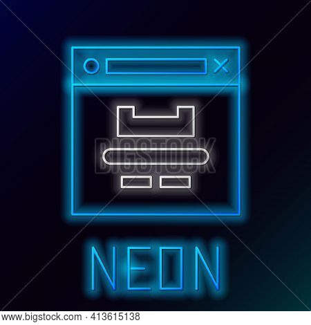 Glowing Neon Line Browser Window Icon Isolated On Black Background. Colorful Outline Concept. Vector