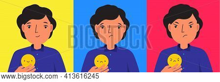 Man With Emoticon. Happy, Sad And Angry Mood. Vector Illustration For People States Of Mind