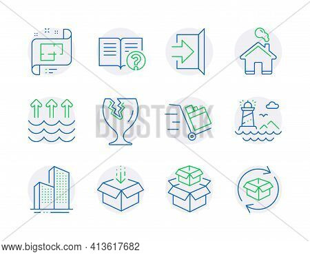Industrial Icons Set. Included Icon As Evaporation, Get Box, Help Signs. Vector