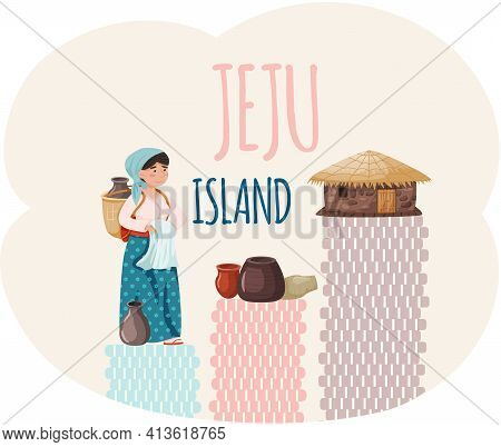 Travel Jeju Island, Attractions With Asian Village Old House And Woman Dressed In National Clothes