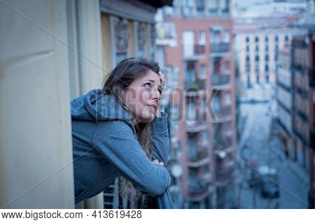 Young Beautiful Unhappy Woman Suffering From Depression