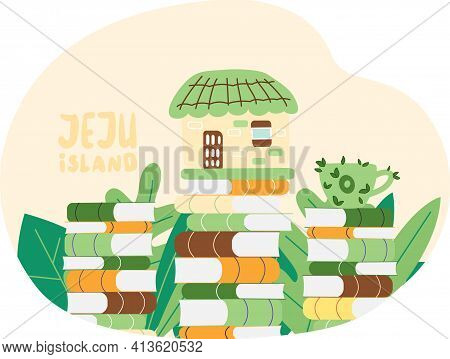 Travel Jeju Island, South Korea Attractions With Village Old House. Rural Building Natural Landscape