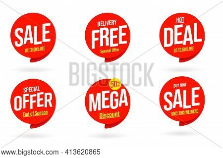 Seasonal Weekend Sale And Delivery Free Service Template Set. Hot Deal, Special Offer Up To 50 Perce