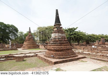 Beautiful Landscape Of The Great Pagoda Of Wat Chai Wattanaram, Wat Chai Wattanaram Is One Of The Mo