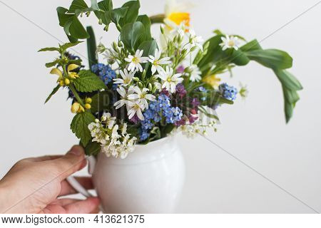Hand Holding Beautiful Spring Wildflowers In Vintage Cup. Blooming Colorful Flowers Of Ajuga, Forget