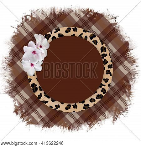 Round Frame With A Leopard Pattern And A Delicate Bouquet Of White Flowers On A Torn Checkered Plaid