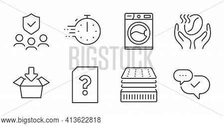 Washing Machine, Coffee And Get Box Icons Set. Deluxe Mattress, Unknown File And People Insurance Si