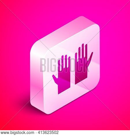 Isometric Medical Rubber Gloves Icon Isolated On Pink Background. Protective Rubber Gloves. Silver S