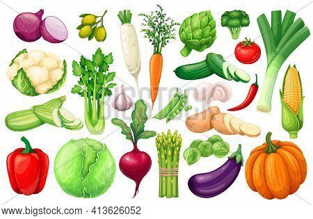 Vegetables Icons Set In Cartoon Style. Farm Product Of Artichoke, Leek, Corn, Garlic, Cucumber, Pepp