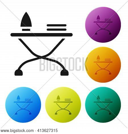 Black Electric Iron And Ironing Board Icon Isolated On White Background. Steam Iron. Set Icons In Co