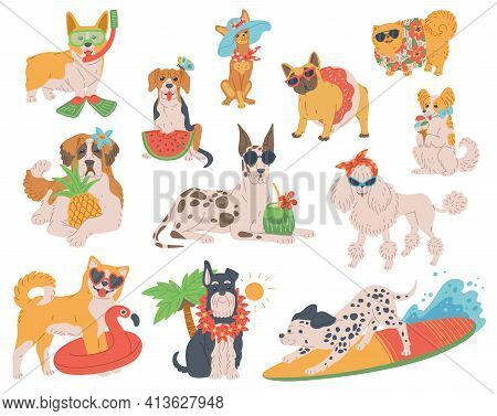 Set Of Funny Dogs On Summer Vacation Flat Vector Illustration Isolated On White.