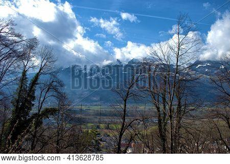 Fantastic View Over The Rhine Valley And The Swiss Alps In Vaduz In Liechtenstein 17.2.2021