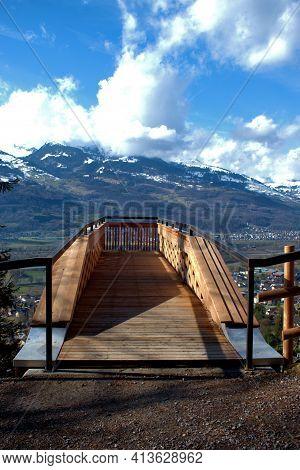 Wooden Platform As A View Point Over The Rhine Valley In Vaduz In Liechtenstein 17.2.2021