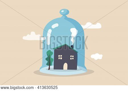 House Insurance, Home Ownership Assurance, Residence, Apartment Or Real Estate Protection Concept, S