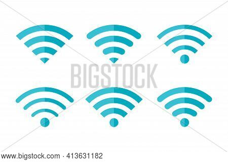 Wireless And Wifi Icon Set. Internet Access Connection. Wi-fi Signal Various Shapes Symbol. Vector I