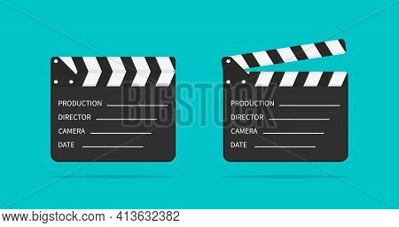Movie Clapper Board. Slate Of Clapperboard. Director Of Film. Take Video With Clapboard. Movie Clapp