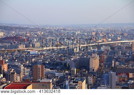 Kyoto, Japan - April 14, 2012: Aerial View Of Kyoto, Japan. Kyoto Is The 8th Most Populous City In J