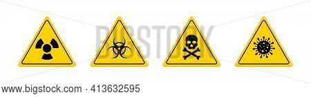Toxic Symbol. Sign Of Hazard Of Covid19. Icon Of Radiation. Symbol Of Biohazard. Danger From Radioac