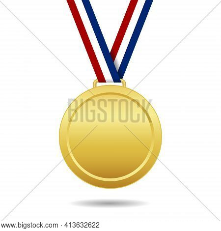 Gold Medal With Ribbon. Trophy Of Winner. Award For 1place. Prize Of Championship. Golden Medal Isol