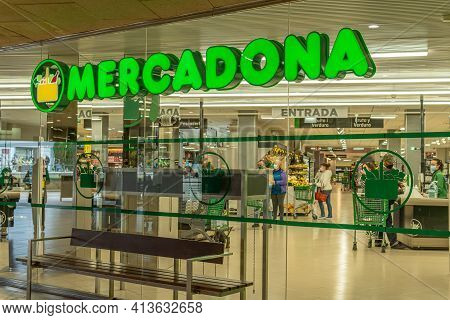 Manacor, Spain; March 18 2021: Entrance Of A Supermarket Of A Spanish Food Chain (mercadona). Inside