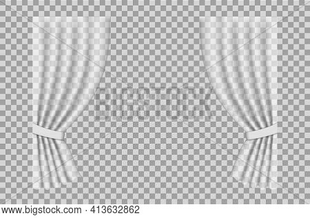 White Curtain. Cloth Curtain With Fold Isolated On Transparent Background. Hanging Silk Fabric For W