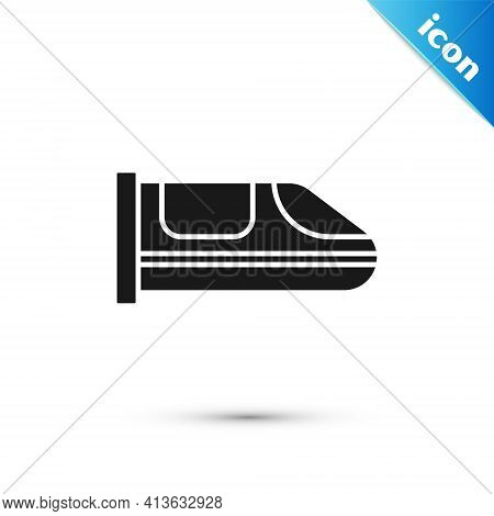 Grey High-speed Train Icon Isolated On White Background. Railroad Travel And Railway Tourism. Subway
