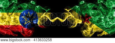 Ethiopia, Ethiopian Vs France, French Guiana Smoky Mystic Flags Placed Side By Side. Thick Colored S