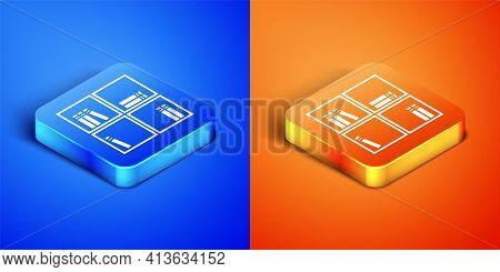 Isometric Shelf With Books Icon Isolated On Blue And Orange Background. Shelves Sign. Square Button.