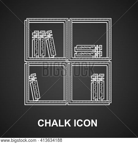 Chalk Shelf With Books Icon Isolated On Black Background. Shelves Sign. Vector
