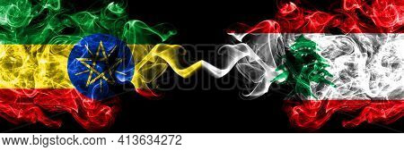 Ethiopia, Ethiopian Vs Lebanon, Lebanese Smoky Mystic Flags Placed Side By Side. Thick Colored Silky