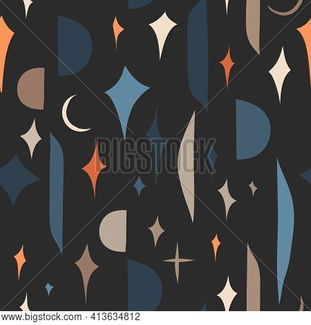 Hand Drawn Vector Abstract Stock Graphic Illustration Art Seamless Pattern, With Modern Collage Natu