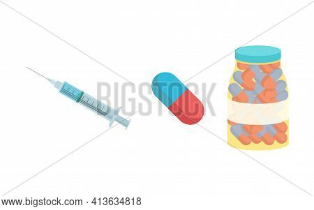Syringe, Medical Pills And Pharmacological Drugs, Antibiotic Vector Illustration Isolated On White B