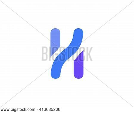 A Letter H From Abstract Multicolors Shapes. Application Icon Logotype Design Template. Vector Icon
