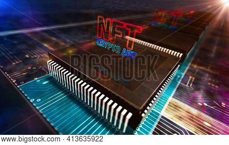 Processor Factory Laser Burning Nft Crypto Art Symbol 3D Illustration