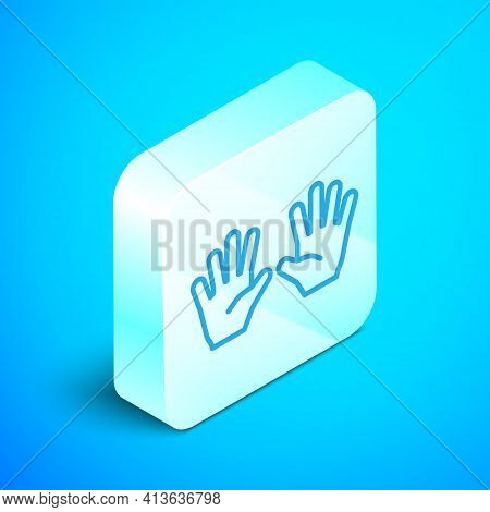Isometric Line Medical Rubber Gloves Icon Isolated On Blue Background. Protective Rubber Gloves. Sil