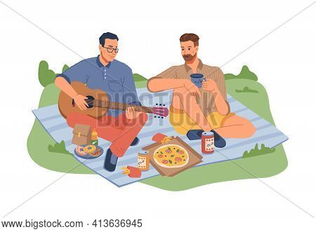 Picnic On Nature, Men Sitting Blanket With Guitar