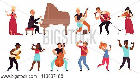Musician And Singers. People Singing, Rocker Musicians Character. Isolated Cartoon Rap Stars, Music