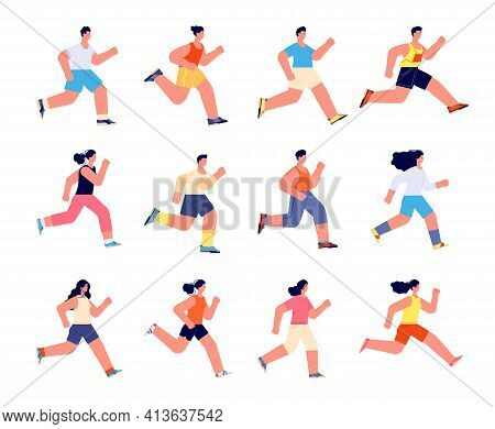 Running Athletes Characters. Profile Jogger, Athlete Man Jogging. Isolated Athletic Men Run, Sport E